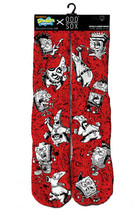 Odd Sox Punk Rock Sponge Bob and Patrick Red Black Crew Sock OSHOL15SBPR Sz 6-13