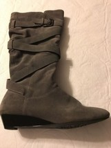 White Mountain Women's Boots Bully Full Zip Gray Suede Wedge Boots Size 9.5 - £29.59 GBP