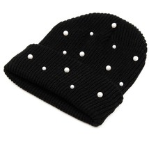 Knitted Women Winter Hats Is Warm Ladies Cap Are Solid Colors With Pearl... - $14.97