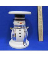 Snowman Candle Holder Pillar Pedestal Christmas Winter Bath & Body White... - $13.85
