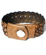 BROWN REAL LEATHER BRACELET HAND MADE TOP QUALITY WOVEN WITH PRESS STUD ... - $16.33