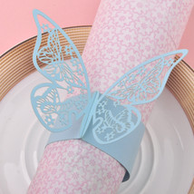 100pcs Sky Blue Paper Butterfly Laser Cut Napkin Ring , - $55.00