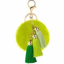 JOUDOO Rabbit Ball Keychain with Gradual Color Tassels Keyring GJ007 green - $9.30