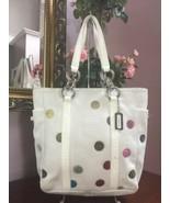 Coach Bag White Leather Multi Polka Dot Tote Shoulder 9769 B2R - $69.29