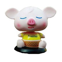 PANDA SUPERSTORE [Dreamer Piggy] Bobbleheads Car Ornaments/Car Decoration,4.7x3.