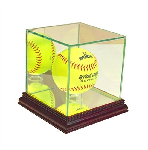 Softball Glass Display Case - Cherry Finish