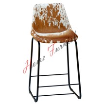 Vintage Industrial Cowhide Brwon Leather Counter Height Kitchen Stools C... - $220.00