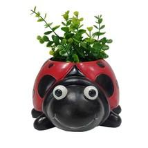 "9.5"" Long Adorable Ladybug Design Home/Garden Planter Pot Red Black Resin"