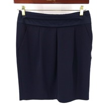 Gap Pencil Skirt Size 8 Navy Blue Pleated Waist Side Pockets Solid Womens - $15.84