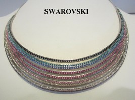 Authentic Swan Signed SWAROVSKI Rainbow Rhinestone Rhodium Necklace Choker - $179.95
