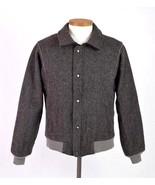 Vtg Early 90s PENDELTON Speckled Charcoal Wool Tweed Retro Bomber Jacket... - $54.44