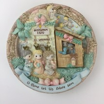 "1998 ENESCO PRECIOUS MOMENTS 3-D PLATE ""O COME LET US ADORE HIM""-HINGED ... - $14.85"