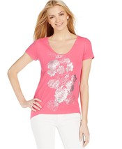 DKNY Metallic Floral Tee T SHIRT Pink Silver Flowers Small $49 - NWT - $9.89