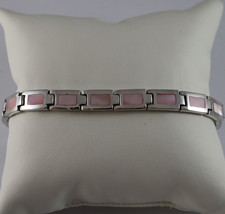 .925 RHODIUM SILVER BRACELET WITH RECTANGLES OF MOTHER OF PEARL PINK image 1