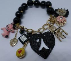 Betsey Johnson Goes To Paris Chunky Gold Tone Paris Theme Charm Bracelet  - $39.60