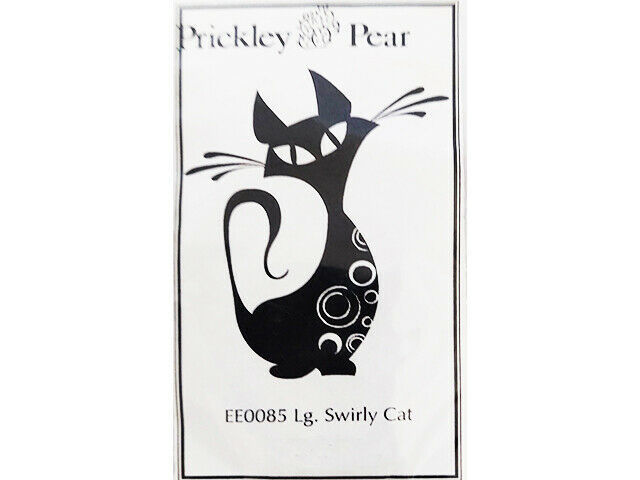 Prickley Pear Swirly Cat Unmounted Rubber Stamp #EE0085