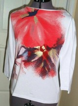 *JONES NEW YORK SPORT KNIT TOP SHIRT SIZE PS - PM WHITE RED GOLD PRINT S... - $16.98