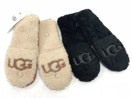 Ugg Australia Curly Pile Flip Chestnut Or Black Sheepskin Logo Mittens 1089975 - $59.99