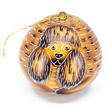 Handcrafted Carved Gourd Art Poodle Puppy Dog Ornament Handmade in Peru