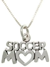 Jewelry Trends Sterling Silver Soccer Mom Heart Charm on Box Chain Necklace - $24.80