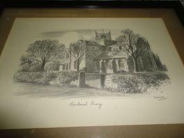 Original Art UK Artist JUDGES Pencil Sketch Cartmel Priory Cumbria Framed image 3