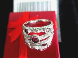 Judith Ripka Sterling Multi Row Gemstone Rhodolite Garnet Topaz Ring Sz ... - $119.95
