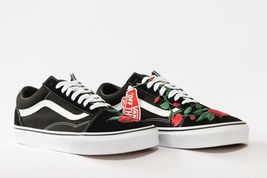 Vans Rose embroidered customs available in all sizes black and white image 4