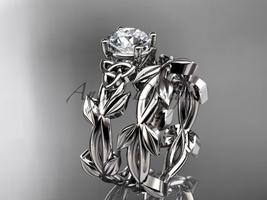 Celtic knot white leaf wedding ring set with a Moissanite center stone C... - $1,375.00