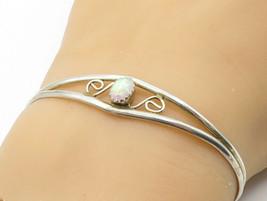 925 Sterling Silver - Vintage Fire Opal Swirl Split Shank Cuff Bracelet ... - $29.84