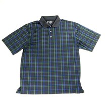 Pro Tour Performance Golf Mens Size Medium Short Sleeve Plaid Polo Black... - $21.75
