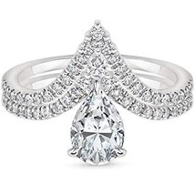4K White Gold Fn 1/2CTW Pear & Round CZ Diamonds Chevron Shaped Bridal R... - $72.99