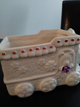 Vintage Hand Painted White Flowered Train Ceramic Planter Made in China image 3