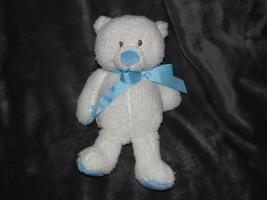 "Baby Ganz Bennett Bear Stuffed Plush Soft White Blue Ribbon Bow 11"" - $49.49"