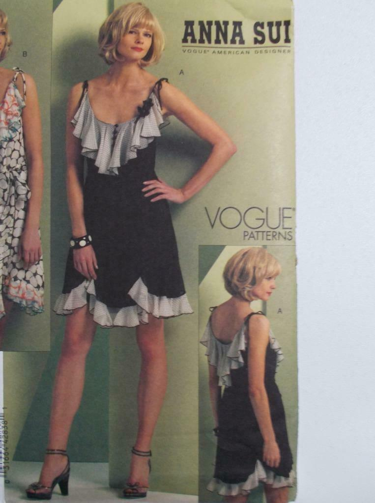 Vogue American Designers Anna Sui V 1104 Dress Pattern Size AA 6-12 Uncut image 3