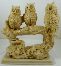 Three Owls Sitting on Branch Figurine Mexico - $49.49