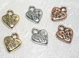 2pcs - Labor Of Love Fine Pewter Pendant Charms - 9mm L X 11mm W X 2mm D