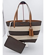 NWT MICHAEL Michael Kors Brown Striped Canvas Leather Large Shoulder Bag... - $198.00
