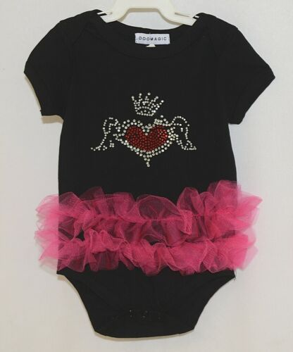 Doomagic Black One Piece Pink Tutu Red Heart Crown Wings Size 12 to 24 Months