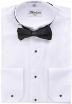 New Berlioni Italy Men's Premium Tuxedo Dress Shirt Wingtip Collar Bow-Tie White image 2