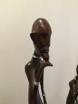 """African Men Wooden Statues Lot Of 3- 15.5"""" & 12.25"""" ,9"""" Painted Stipplin... - $55.00"""
