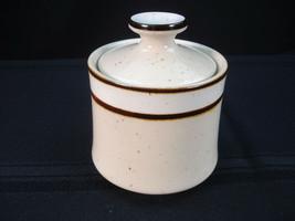 "Sango Rainbow Stoneware CAPRI 651 Sugar Bowl 4"" Brown Trim Off White Speckled - $7.49"