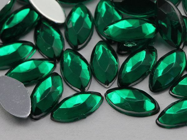 8x4mm Green Emerald H106 Flat Back Navette Acrylic Gems  - 75 PCS