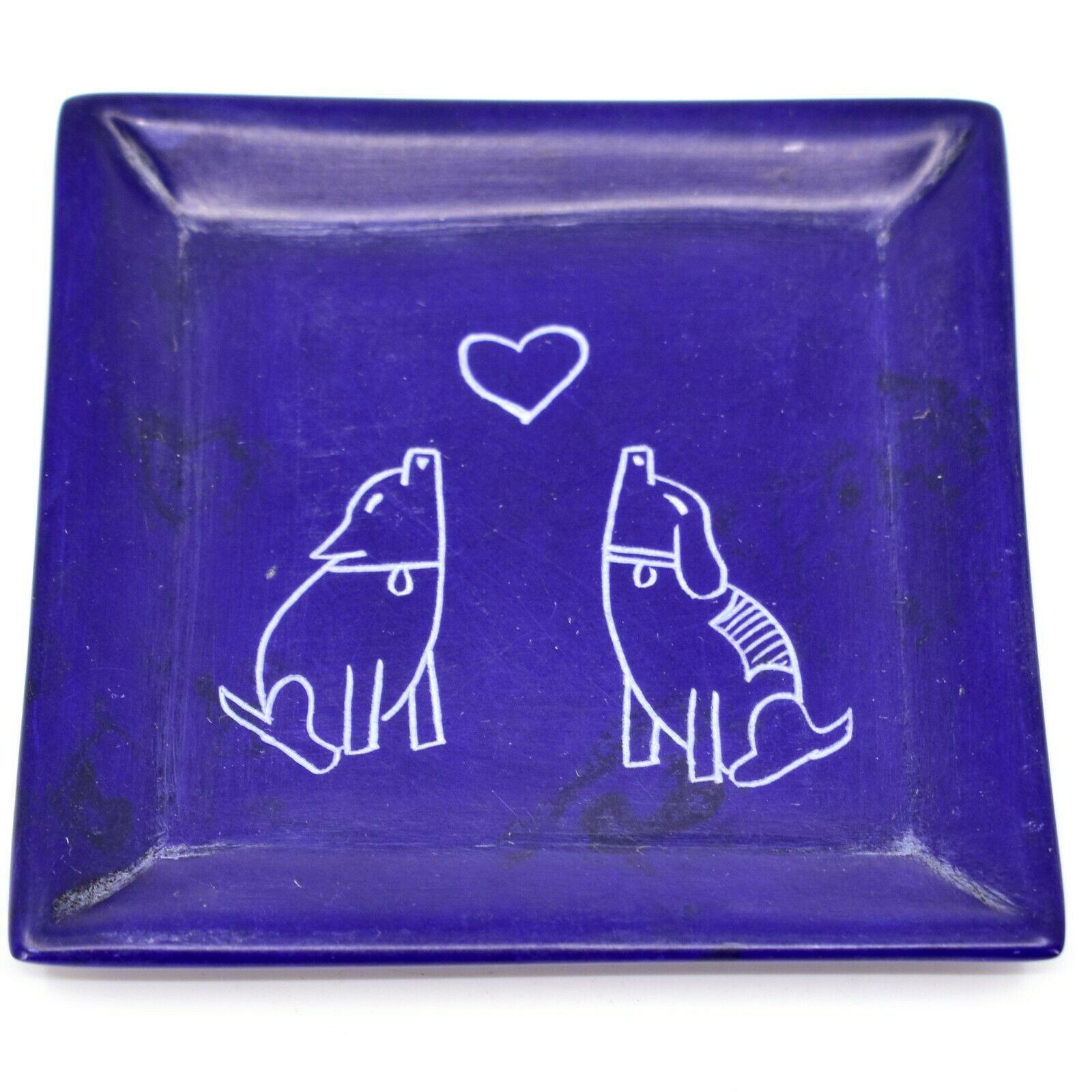 Tabaka Chigware Hand Carved Kisii Soapstone Puppy Love Square Soap Dish Kenya
