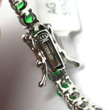 925 Silver Tennis Bracelet, Green Cubic Zirconium 3 mm, length 18 cm image 5