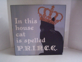 """In This House Cat...."" Plaque by Blossom Bucket, 8"" x 8"" x 1.5"", Black ... - €10,58 EUR"