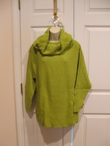 new in pkg newport news kiwi green cowl neck tunic sweater size small - $16.33