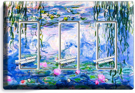 Water Lilies Claude Monet Painting Triple Gfi Light Switch Wall Plate Room Decor - $14.57