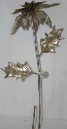 Regency International MTX46379 Vintage Silver Poinsettia Decoration Spray