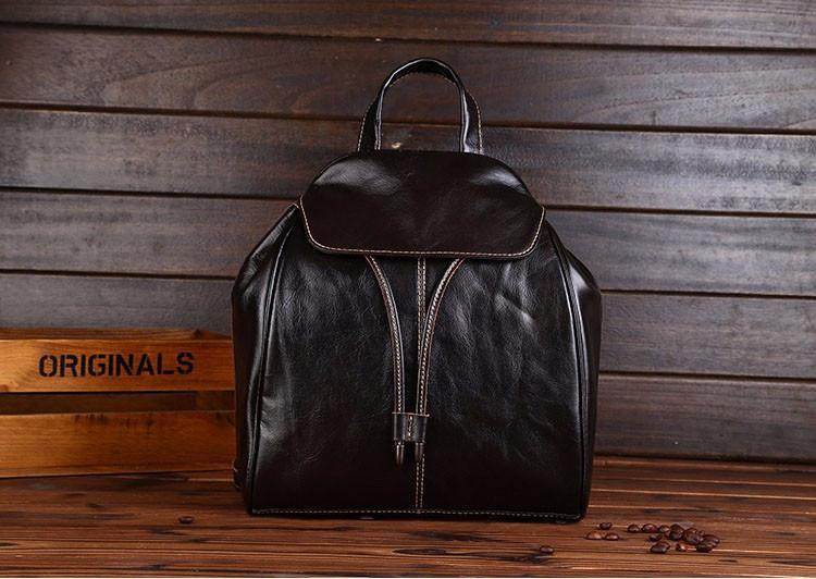 Fashion Vintage Women Backpack Daily School Bag Shoulder Travel Bag Genuine Leat