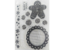 Stylized Gingerbread Man and Icons Clear Stamp Set